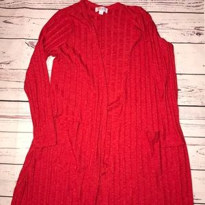 Lularoe ribbed red duster